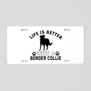 Border Collie vector designs Aluminum License Plat