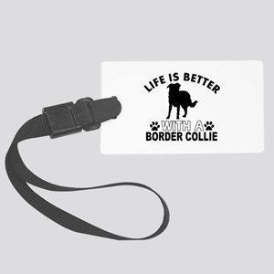 Border Collie vector designs Large Luggage Tag