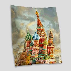 Kremlin Moscow Russia St Basel Burlap Throw Pillow