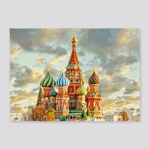 Kremlin Moscow Russia St Basel 5'x7'Area Rug