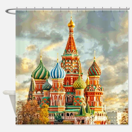 Kremlin Moscow Russia St Basel Shower Curtain