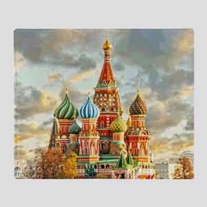 Kremlin Moscow Russia St Basel Throw Blanket