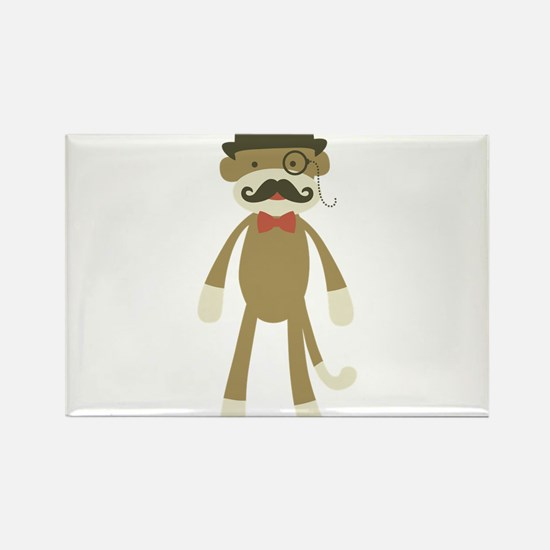Sock monkey with Mustache and Top hat Rectangle Ma