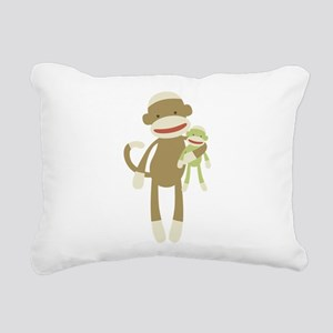 Sock monkey with baby Rectangular Canvas Pillow