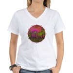 The Woods II Magenta Women's V-Neck T-Shirt