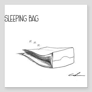 """Sleeping Bag"" Square Car Magnet 3"" x 3"""