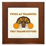 Twice Thankful Thanksgiving Framed Tile