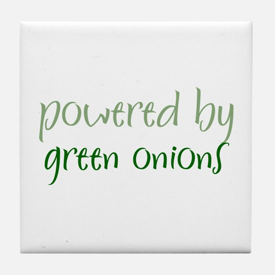 Powered By green onions Tile Coaster