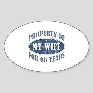 Funny 60th Anniversary Sticker (Oval)
