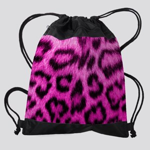 Pink Leopard Print Drawstring Bag