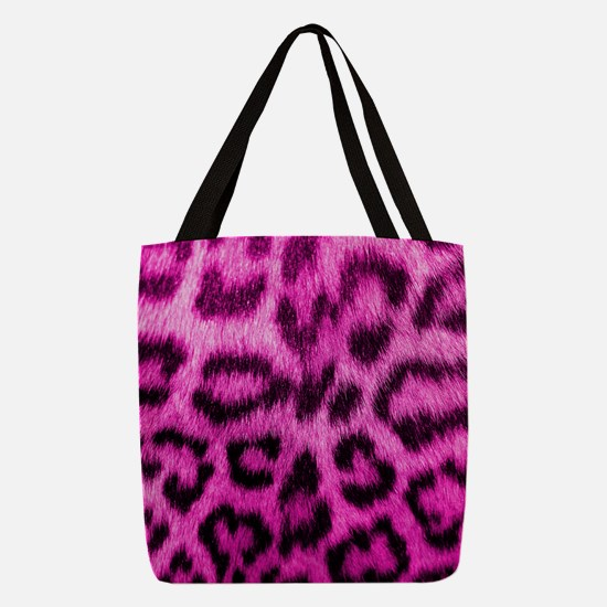 Pink Leopard Print Polyester Tote Bag