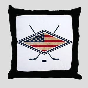 USA Hockey Flag Logo Throw Pillow