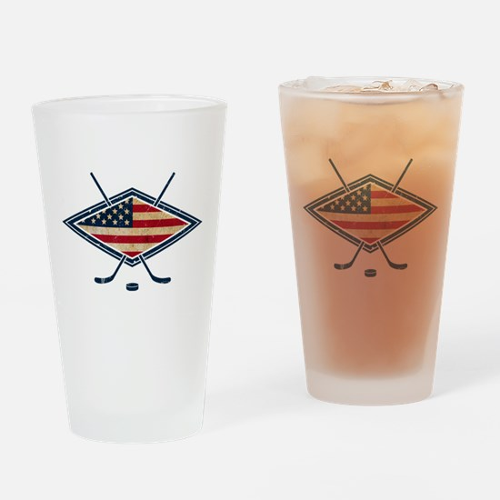 USA Hockey Flag Logo Drinking Glass