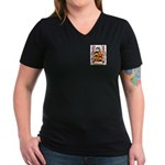 Busfield Women's V-Neck Dark T-Shirt