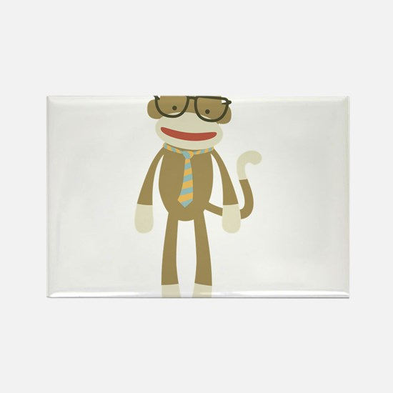 Sock monkey with Glasses Rectangle Magnet