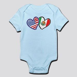 USA Mexico Heart Flag Body Suit