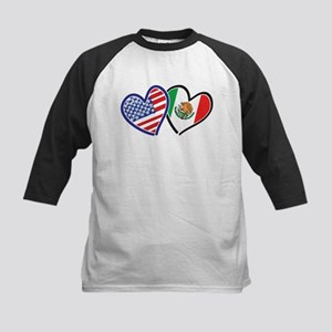 USA Mexico Heart Flag Baseball Jersey