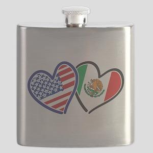 USA Mexico Heart Flag Flask