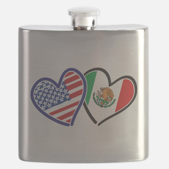 USA Mexico Heart Flag Flask