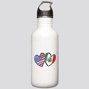 USA Mexico Heart Flag Water Bottle