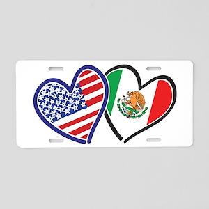 USA Mexico Heart Flag Aluminum License Plate