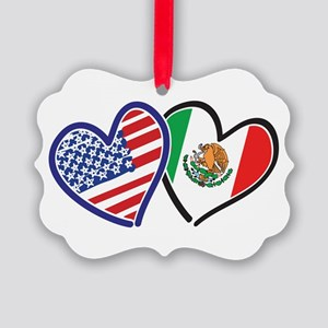 USA Mexico Heart Flag Ornament