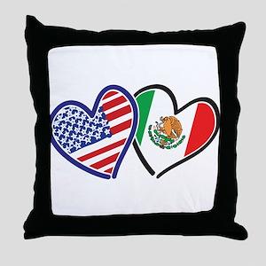 USA Mexico Heart Flag Throw Pillow
