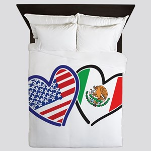 USA Mexico Heart Flag Queen Duvet