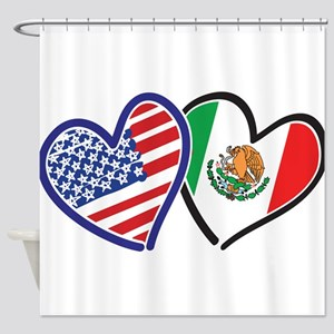 USA Mexico Heart Flag Shower Curtain