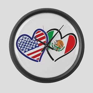 USA Mexico Heart Flag Large Wall Clock