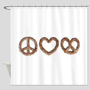 Peace Love Pretzel Shower Curtain