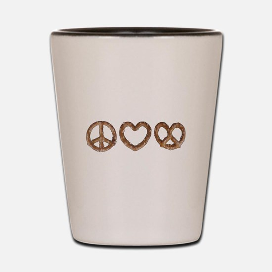 Peace Love Pretzel Shot Glass