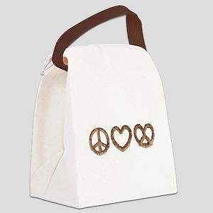 Peace Love Pretzel Canvas Lunch Bag