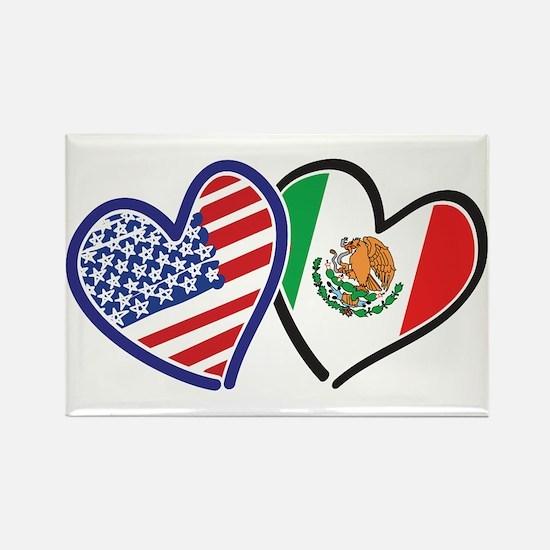 USA Mexico Heart Flag Rectangle Magnet