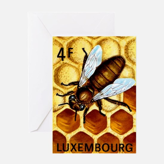 Vintage 1973 Luxembourg Bee Postage Stamp Greeting