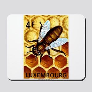 Vintage 1973 Luxembourg Bee Postage Stamp Mousepad