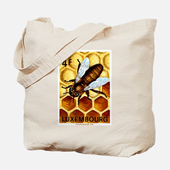 Vintage 1973 Luxembourg Bee Postage Stamp Tote Bag