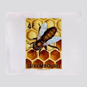 Vintage 1973 Luxembourg Bee Postage Stamp Throw Bl