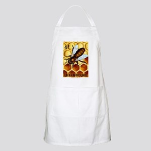 Vintage 1973 Luxembourg Bee Postage Stamp Apron