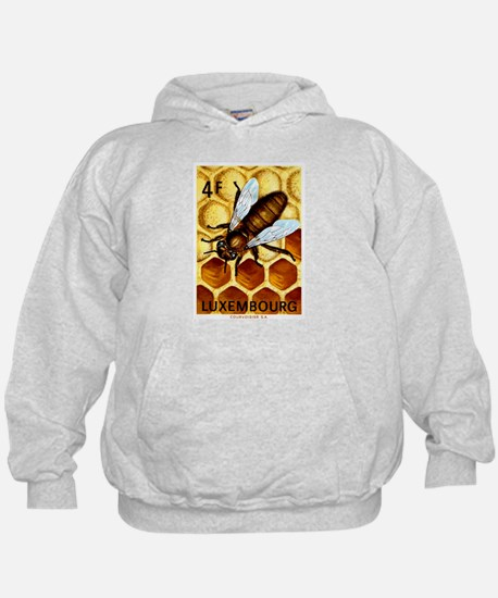 Vintage 1973 Luxembourg Bee Postage Stamp Hoodie