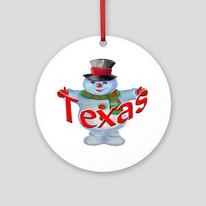 Texas Snowman Ornament (Round)