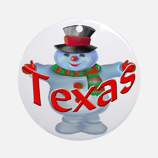 Texas Snowman Ornament (Round)