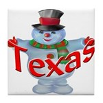 Texas Snowman Tile Coaster