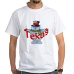 Texas Snowman White T-Shirt