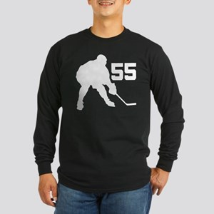 Hockey Player Number 55 Long Sleeve Dark T-Shirt