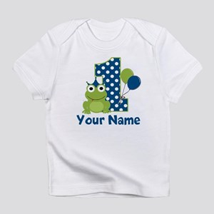 1st Birthday Frog Blue Infant T Shirt