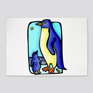 mother and baby penquin 5'x7'Area Rug