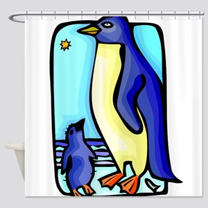 mother and baby penquin Shower Curtain