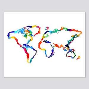 Watercolor World Map Posters