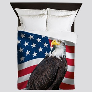 USA flag with bald eagle Queen Duvet